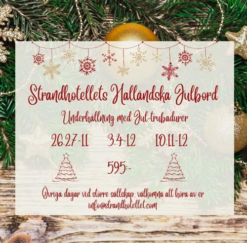 Julbord på Strandhotellet Mellbystrand i MELLBYSTRAND | Julbordsportalen.se